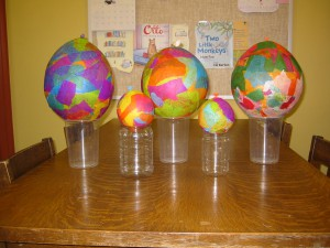 Paper Mache Easter Eggs from March 21, 2013